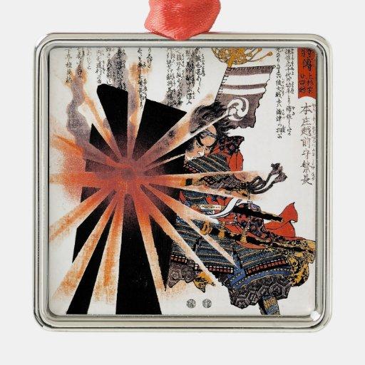 Cool  japanese Samurai Warrior Blistering Sun art Christmas Ornament