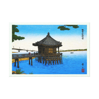 Cool japanese sea waterscape shrine temple scene gallery wrap canvas