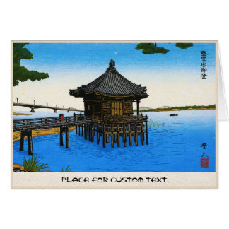 Cool japanese sea waterscape shrine temple scene card