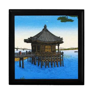 Cool japanese sea waterscape shrine temple scene gift box