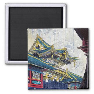 Cool  Japanese Shiro Kasamatsu Ancient Shrine art 2 Inch Square Magnet