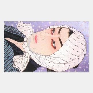 Cool japanese Shunsen Natori Kabuki actor Rectangular Sticker