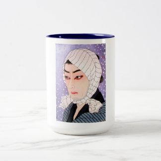 Cool japanese Shunsen Natori Kabuki actor Two-Tone Coffee Mug
