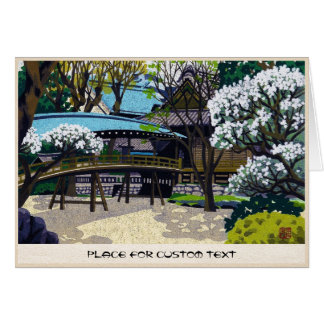 Cool japanese spring village town bridge cherry card