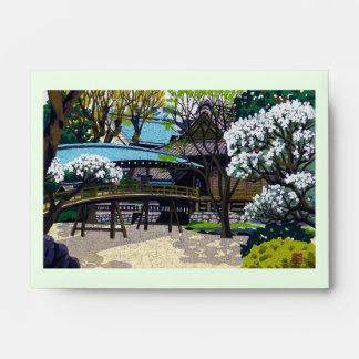 Cool japanese spring village town bridge cherry envelope