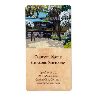 Cool japanese spring village town bridge cherry label