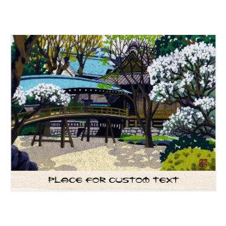 Cool japanese spring village town bridge cherry postcard