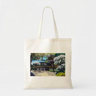 Cool japanese spring village town bridge cherry tote bag