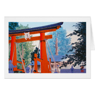 Cool japanese Tokuriki Shrine entrance forest Card