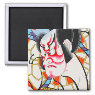 Cool japanese traditional kabuki makeup tadamasa 2 inch square magnet