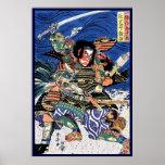 Cool japanese ukiyo-e legendary warrior samurai poster