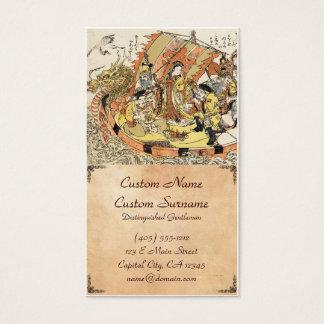 Cool japanese ukiyo-e mythical dragon ship crew business card