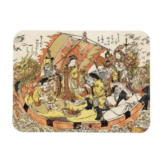 Cool japanese ukiyo-e mythical dragon ship crew magnet