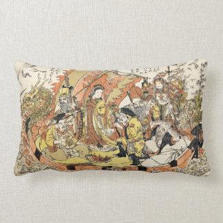 Cool japanese ukiyo-e mythical dragon ship crew throw pillows