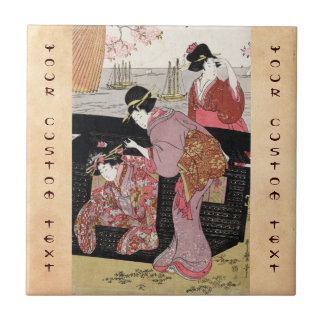 Cool japanese ukiyo-e trio geisha lady scroll ceramic tile