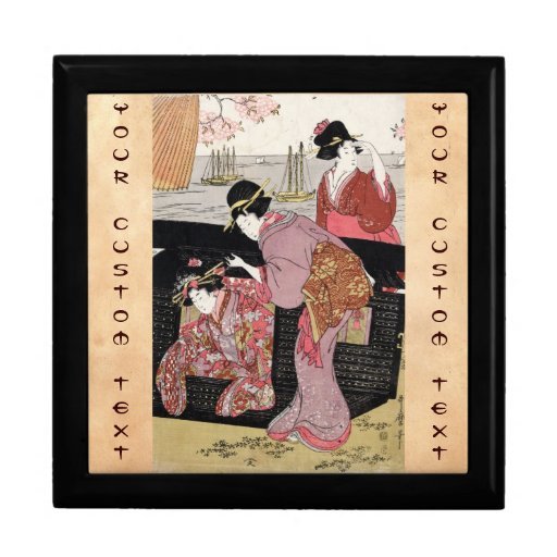 Cool japanese ukiyo-e trio geisha lady scroll gift box