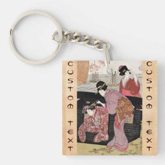 Cool japanese ukiyo-e trio geisha lady scroll keychain