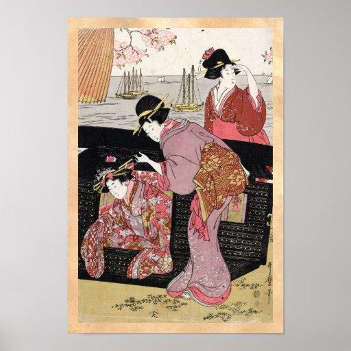 Cool japanese ukiyo-e trio geisha lady scroll print
