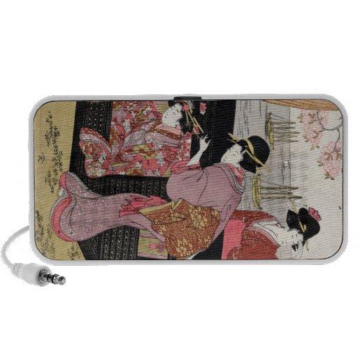 Cool japanese ukiyo-e trio geisha lady scroll travelling speaker