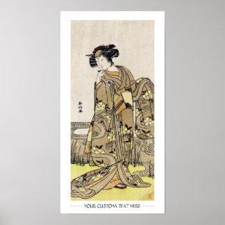 Cool japanese ukiyo-e vintage geisha old scroll poster