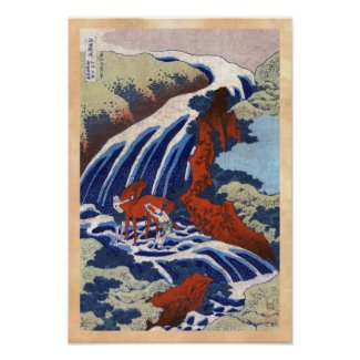 Cool japanese ukiyo-e vintage waterfall scenery posters