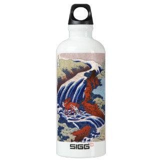 Cool japanese ukiyo-e vintage waterfall scenery water bottle