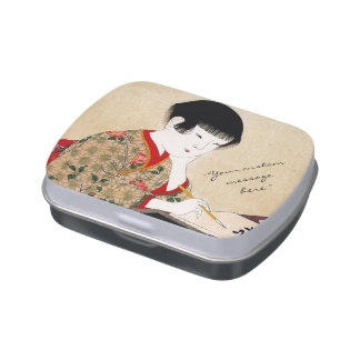 Cool japanese vintage lady geisha portrait art jelly belly candy tin