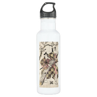 Cool japanese vintage samurai ukiyo-e scroll water bottle