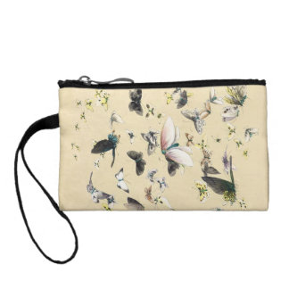Cool japanese vintage ukiyo-e butterfly scroll coin wallet