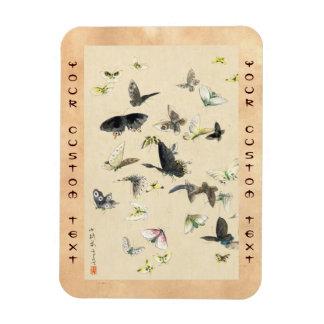 Cool japanese vintage ukiyo-e butterfly scroll magnet