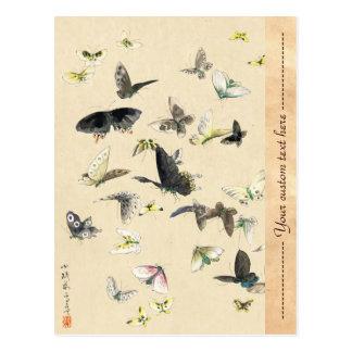 Cool japanese vintage ukiyo-e butterfly scroll postcard