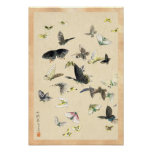 Cool japanese vintage ukiyo-e butterfly scroll posters