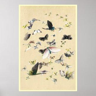 Cool japanese vintage ukiyo-e butterfly scroll print