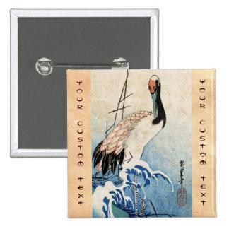 Cool japanese vintage ukiyo-e crane bird scroll button