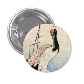 Cool japanese vintage ukiyo-e crane bird scroll pinback button