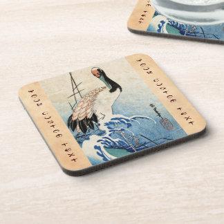 Cool japanese vintage ukiyo-e crane bird scroll coaster