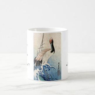 Cool japanese vintage ukiyo-e crane bird scroll coffee mug