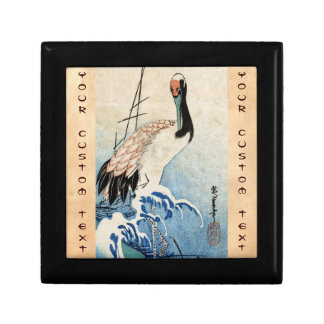 Cool japanese vintage ukiyo-e crane bird scroll keepsake box