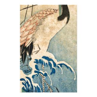 Cool japanese vintage ukiyo-e crane bird scroll stationery