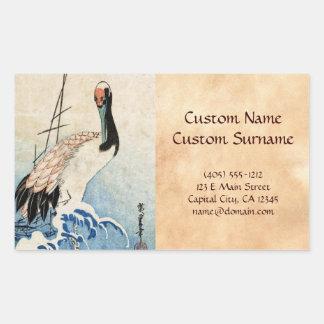 Cool japanese vintage ukiyo-e crane bird scroll stickers