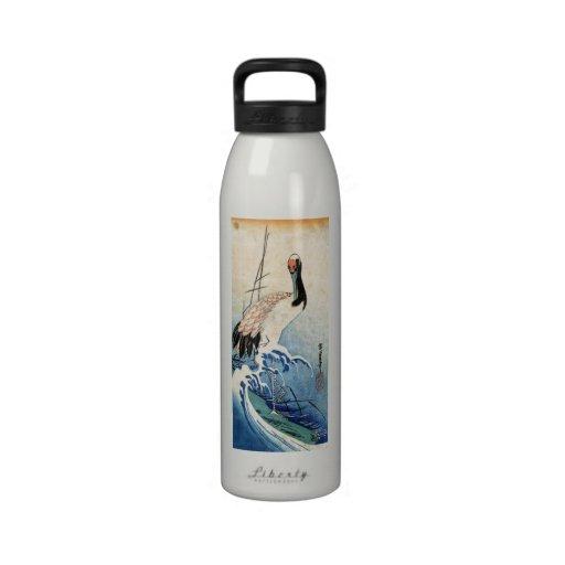Cool japanese vintage ukiyo-e crane bird scroll water bottle