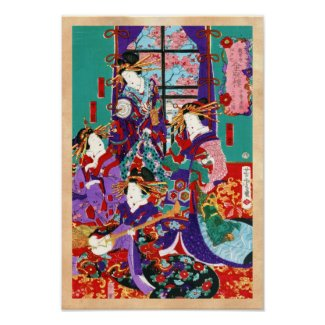 Cool japanese vintage ukiyo-e geisha ladies art poster