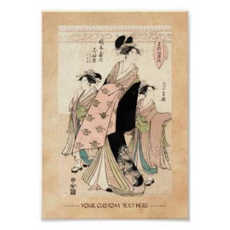 Cool japanese vintage ukiyo-e geisha ladies poster