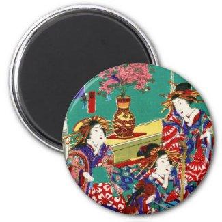 Cool japanese vintage ukiyo-e geisha lady art 1 inch round magnet