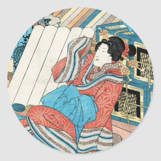 Cool japanese vintage ukiyo-e geisha lady art classic round sticker