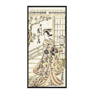 Cool japanese vintage ukiyo-e geisha lady scroll canvas print