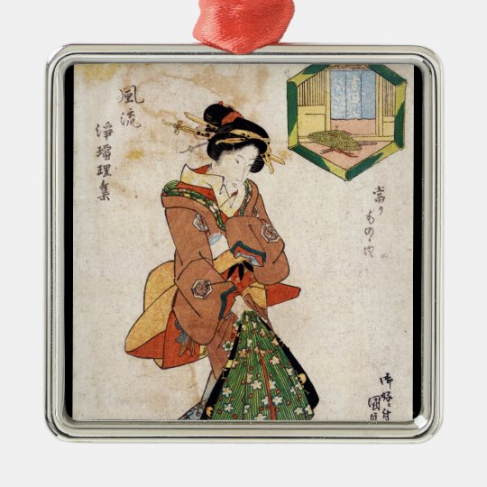 Cool japanese vintage ukiyo-e geisha lady scroll metal ornament