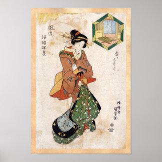 Cool japanese vintage ukiyo-e geisha lady scroll poster