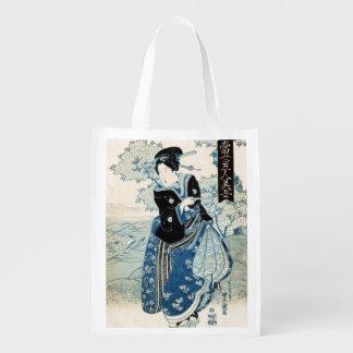 Cool japanese vintage ukiyo-e geisha lady woman reusable grocery bag