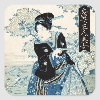 Cool japanese vintage ukiyo-e geisha lady woman square sticker